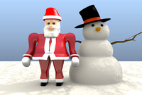 3d model santa claus snowman