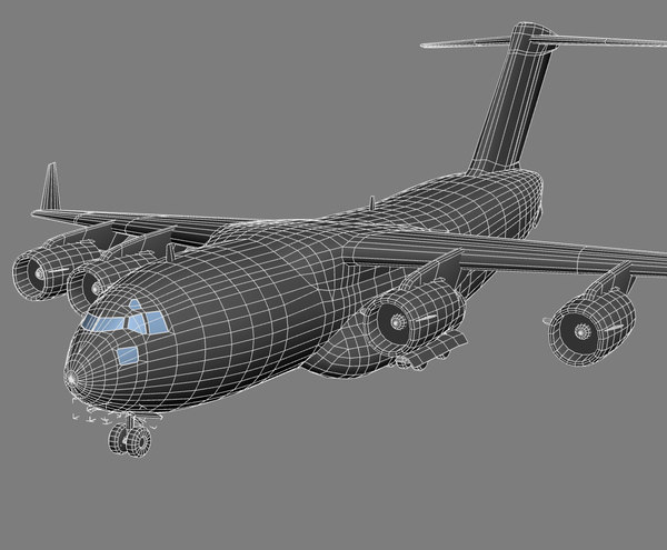 games modeled 3d max - C-17 Globemaster 3 USAF Transport Aircraft Game Model... by Petr005