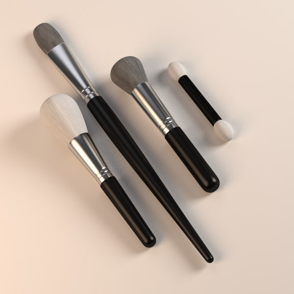cosmetics brushs 3d obj - brushes... by bescec