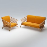 wicker chair sofa 3d model