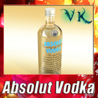 Photorealistic Vodka Absolut Bottle