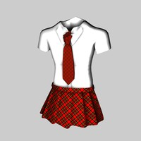 school girl uniform 3d c4d