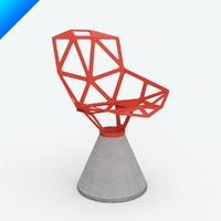 3d chair concrete swivel base model