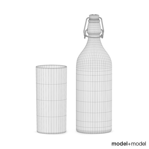 bottle glass milk 3d model - Bottle and glass of milk... by modelplusmodel