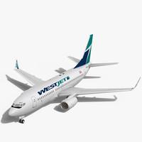 3d max westjet boeing 737-700w plane