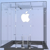 3d glass cube entrance apple model