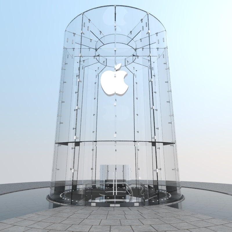 Apple Construction Dimensions: Max Iconic Glass Cylinder Entrance