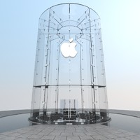 iconic glass cylinder entrance 3d model