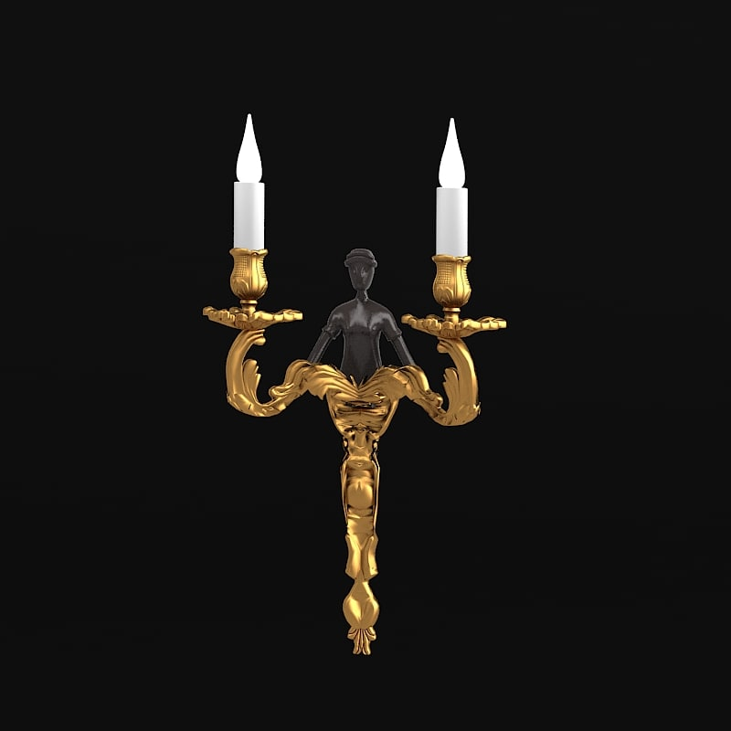 Bronze d'art francis wall sconce lamp classic baroque human statue.jpg