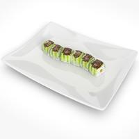 3d sushi green dragon