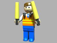 3d model lego pilot landing