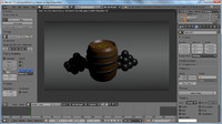 Low Poly Barrel,Coins And CannonBalls