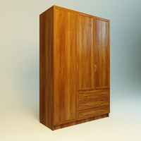 realistic wood wardrobe 3d model