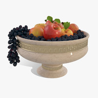 bowl apples grapes 3d model