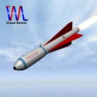iranian missile yasser 3d obj