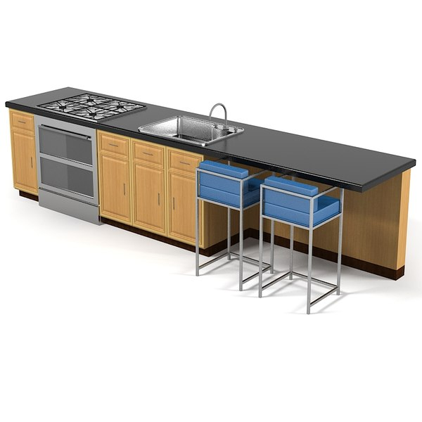 3d Sketch Small Kitchens And Islands: Kitchen Self Service 3d Model