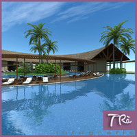 3d model tropical hotel reception resort