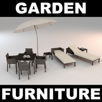 3d model of garden furniture chairs set