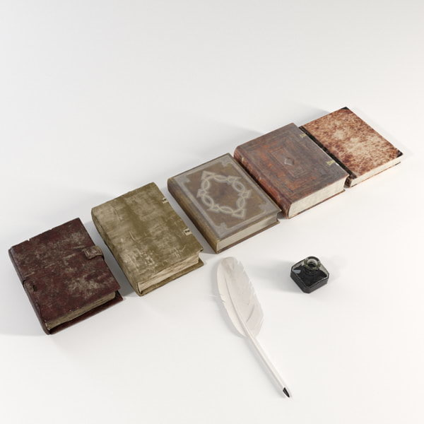 vintage books 3d max - Old Books... by Mu3y