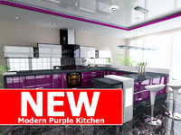 modern purple kitchen 3d model