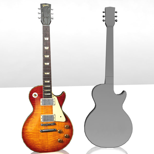 free low-poly gibson les paul 3d model - Gibson Les Paul Guitar - Low Poly... by Riptide099