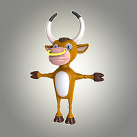 3d bull cartoon