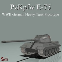 maya wwii german e-75 heavy tank