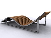 3d lounger bed sunbed sun model