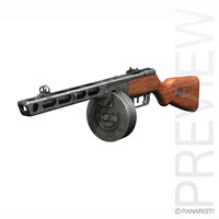 - ppsh-41 submachine gun 3d obj