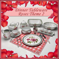 Dinner Tableware Roses Theme 2