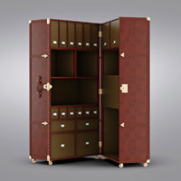 Restoration Hardware - Mayfair Steamer Secretary Trunk Vintage Cigar Leather