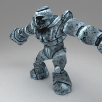 3d rigged metal golem model
