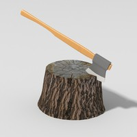 Wood Axe and Stump