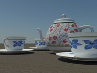 coffee tea set 3d max