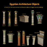 egyptian architecture columns egypt c4d