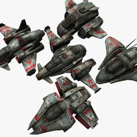 5 space destroyers 3d model