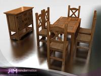 3dsmax c2 s3 puebla dining-comedor