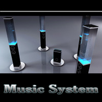 3d model music water speakers