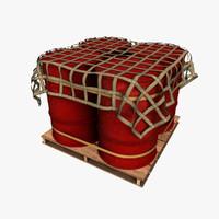 oil drum pallet 3d obj