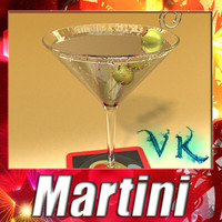 photorealistic martini liquor glass 3d model