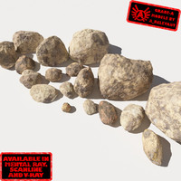 Rocks 12 Smooth RS56 - Dirty Tan 3D Rocks or Stones
