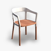 steelwood chair table 3d max