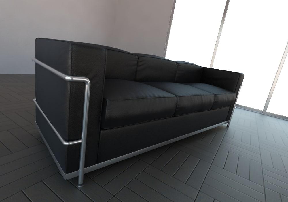 3d sofa le corbusier for Sofa le corbusier