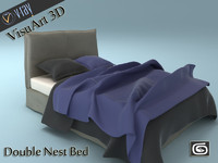 3d model double nest bed
