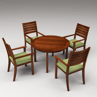 free chairs table set 3d model