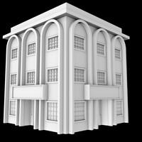 free c4d model 3-story corner building