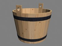 wood bucket wooden 3d max