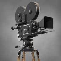 3d classic movie camera model