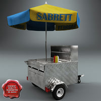 hot dog cart v3 3d model