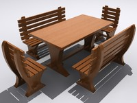3d dining rustic chairs table model